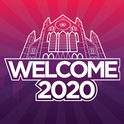 Welcome 2020 text on a purple and pink gradient background